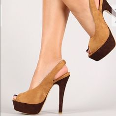 HP!!Camel & Brown Faux Suede Sling Backs! Camel & brown faux suede sling back shoes. Shoes have a peep toe, 5 inch heel, & 1.5 inch platform. Have size 6.5 & 7.5. Each shoe is $28.00. Please specify size. HP for Night Out!! Anna Shoes