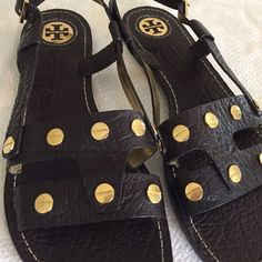 Tory Burch Gladiator Sandals with Gold Medallions Love these Tory Burch Brown Leather Gladiator Sandals with Gold Medallions! Size 10. Previously loved, in good condition. Toe has a scuff please see photos. Tory Burch Shoes Sandals