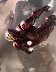 Iron Man – digital painting of Robert Downey Jr playing Tony Stark suited up as Iron Man in The Avengers Assemble.