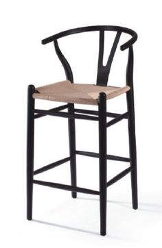 Inspired on Wegner wishbone style stool. Y-chair. Designer stool from 1949 Patio Chair Cushions, Patio Chairs, Beach Chair With Canopy, Scandinavian Interior, Wishbone Chair, Rattan, Solid Wood, Stool, Furniture