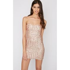 Saddiah Rose Gold Sequin Strapless Mini Dress (£35) ❤ liked on Polyvore featuring dresses, yellow, sequin party dresses, short yellow dress, sequin mini dress, strapless cocktail dresses and mini party dresses