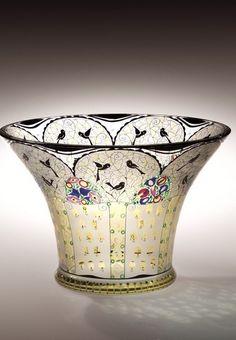 Vase with Birds - Maker: Fachschule Haida Manufacturer Bohemia, Novy Bor (Haida)
