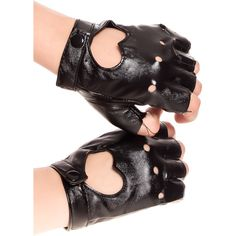 Black heart shaped cutout finger cutout faux leather gloves ($13) ❤ liked on Polyvore featuring accessories, gloves, black, vegan gloves, fake leather gloves, vegan leather gloves, synthetic leather gloves and faux leather gloves