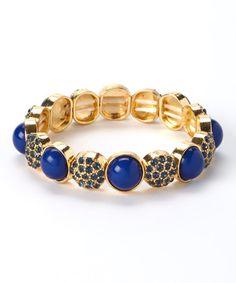 Another great find on #zulily! Blue & Gold Globe Stretch Bracelet by Marlyn Schiff #zulilyfinds