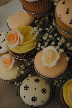 Cream, black and peach cupcake wedding