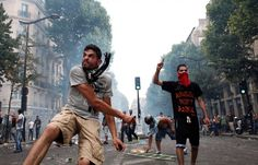 This photo shows an Anti Semitic protest turned to riots in Paris, France.