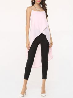 Plain Asymmetrical Hems Charming Spaghetti Strap Sleeveless-t-shirts