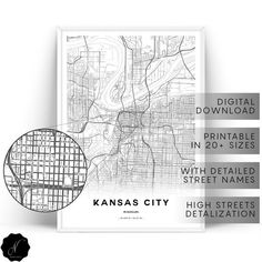 Kansas City Map Printable Wall Art, Map Gifts, Printable Map Of Kansas City Wall Art Prints, Maps As Selling Handmade Items, Etsy Handmade, Printable Maps, Printable Wall Art, Kansas City Map, Coastal Wall Art, Photo Printer, Map Design, City Maps