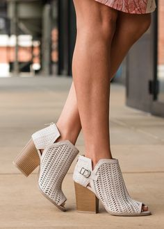 b881625ce23 Out and About Criss Cross Laser Cut Booties Oatmeal - Modern Vintage  Boutique 2