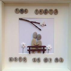 Handmade Bespoke Pebble Art Personalised Wedding Anniversary - <span…