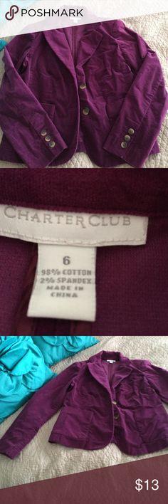 Purple blazer velvet like texture Lovely purple blazer Charter Club Tops