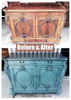 Here's another idea for making something old into something new. // Ornate Sea Blue Buffet Before & After