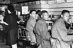 This picture captures a group of freshmen from North Carolina Agricultural and Technical School participating in a sit-in at Woolworth's in Greensboro, North Carolina. They were not served, but stayed until closing time. They came back with more and more people and eventually staged a boycott. The success of the boycott allowed them to finally be served at Woolworth's.
