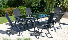 Salon de jardin - Table + 6 chaises, aluminium plateau noir RALLONGE ...