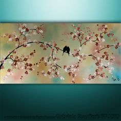 Abstract Landscape Tree Birds Painting Textured Modern Art