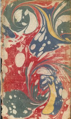 Vintage 18th c. marbled paper, Placard pattern