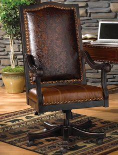 Featuring western furniture including leather chairs, western ottomans and tooled leather western chairs from Lone Star Western Decor. Cabin Furniture, Western Furniture, Leather Furniture, Rustic Furniture, Furniture Decor, Office Furniture, Executive Office Chairs, Home Office Chairs, Office Decor