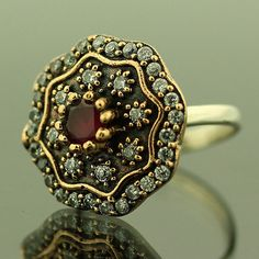 Turkish Hurrem Sultan Ottoman Ruby 925 Sterling Silver Ring Size 6 Jewelry #Handmade #Cocktail