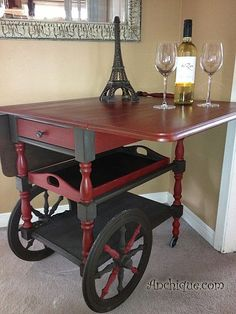 Painted Furniture. I have a tea cart just like this!