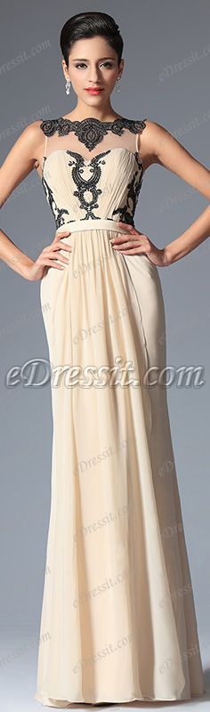 eDressit New Champagne Sleeveless Pleated Lace Evening Dress Party Dress