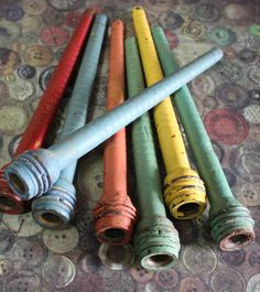 2+Antique+Wooden+Spools+Painted+1950's+by+CaityAshBadashery,+$8.95