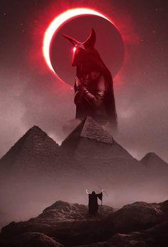 The mother of egypt by CharllieeArts on DeviantArt Pyramids Egypt, Anubis, Solar Eclipse, Dark Art, Batman, Darth Vader, Deviantart, Movie Posters, Outdoor