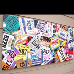 I wonder if you could glue the bibs to a huge magnetic board, or cork board and then pin up medals or other race stuff?   The Art of Running.  This looks so awesome, I didn't think about doing a horizontal running bib board for my apartment. I love it! and I <3 Running!