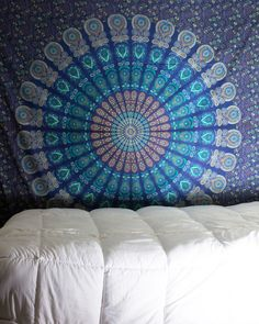 Teal Mandala Tapestry $24.99 | www.thebohemianshop.com   Save 15% OFF your order using Coupon Code 'SAVE15' at checkout!