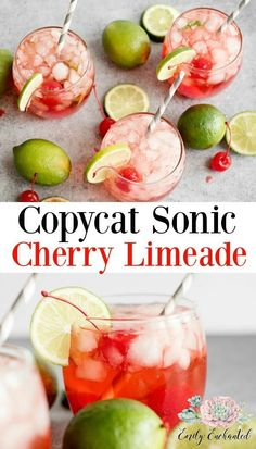 This Copycat Sonic Cherry Limeade Drink Recipe is delicious and refreshing. It is so easy to make and you can make your own crushed ice just like Sonic. Easy Drink Recipes, Drinks Alcohol Recipes, Punch Recipes, Copycat Recipes, Summer Recipes, Smoothie Recipes, Smoothies, Dessert Recipes, Sonic Cherry Limeade