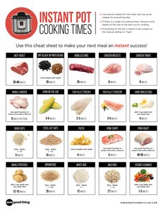 Instant pot cooking times