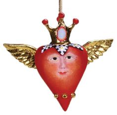 Patience Brewster Mini Heart with Crown Ornament
