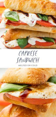 Vegetarian Sandwich Recipes, Veggie Sandwich, Caprese Sandwich Recipe, Vegetarian Italian Recipes, Easy Sandwich Recipes, Cold Sandwiches, Healthy Sandwiches, Sandwiches For Dinner, Real Food Recipes