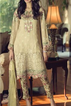Buy Beige Embroidered Chiffon Dress by Maria B. 2015.
