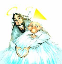 Curiosities in General: Prayer to the Holy Trinity – Praising God – jesus Jesus Mother, Mother Art, Jesus Artwork, Pictures Of Jesus Christ, Lady Of Fatima, Prophetic Art, Mary And Jesus, Christian Art, Cartoon Art