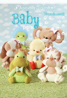 Nesta apostila você vai aprender a confeccionar 6 lindos Baby Pets! Tudo bem explicadinho com passo a passos, fotos e moldes! São mais de 260 fotos ilustrativas e com explicações escritas! Acesse: www.boutiquedofeltro.com