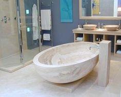 One Piece Roman Travertine Marble Bathtube, Marble Bathroom, Travertino Romano