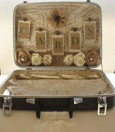 Vintage Suitcase Card Holder for Rustic Wedding-Vintage Wedding-Shabby Chic Wedding-Country Wedding via Etsy by ShanniApril