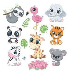 Cute Animal Clipart, Cute Cartoon Animals, Cute Clipart, Baby Animals, Cute Animals, Baby Animal Drawings, Cute Drawings, Dibujos Cute, Australian Animals