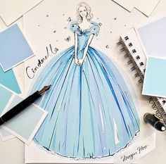 2015.03.09 JUST OUT! When I was a little girl my favourite book was Cinderella - I possibly read it a million times and I still blame my adult shoe obsession on the GLASS SLIPPER! So can you imagine my excitement when Disney called and asked me to work on the latest #Cinderella film and sketch the iconic costumes from the film!!! This has really been a childhood dream brought to life! My 3 costume sketches are shown exclusively in the April edition of Harper's BAZAAR Australia - out today!