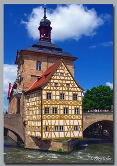 """The """"Altes Rathhaus"""" (City Hall that was built in the middle of the river as a means to settle a dispute) in Bamberg, Germany"""