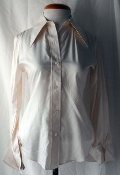 Women's 1970s Peck & Peck Cream Silk French Cuff Shirt with Original Tags