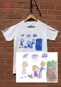 Items similar to Personalized Cotton T-Shirt - Men's Top Custom Silk Screen Print Your Child's Drawing on Jersey Knit Cotton Top Keepsake Gift for Dad on Etsy Family Portrait Drawing, Family Drawing, Drawing For Kids, Family Portraits, Silk Screen Printing, Your Child, Casual Shirts, Trending Outfits, People Art