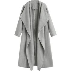 Wool Blend Shawl Collar Waterfall Coat ($40) ❤ liked on Polyvore featuring outerwear, coats, jackets, tops, waterfall coat, gray coat, grey coat and grey waterfall coat