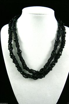"""35""""L 5 Strands Twisted Small Black Glass Beads Necklace $0 SH 