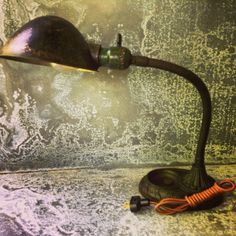 Gooseneck Lamp / Industrial Lighting / Deco Motif / Desk Lamp / Cloth Wire and Vintage style Plug by assemblage333 on Etsy