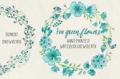 Watercolor wreath: sea green flowers by Lolly's Lane Shoppe on Creative Market