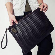 Stylish Black and Weaving Design Clutch For Men on dresslily.com