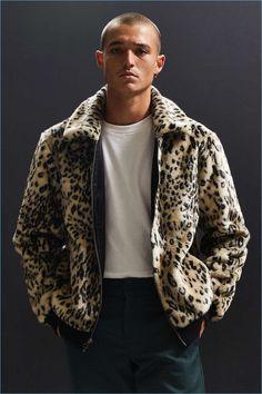 UO Faux Fur Leopard Print Bomber Jacket