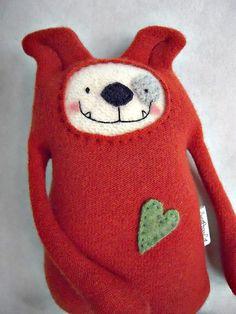 Stuffed Animal Dog Puppy from Orange Wool Sweater by sweetpoppycat