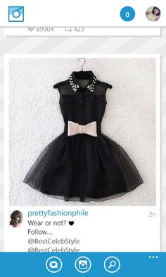 Black dress with studded collar and pale pink bow